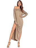 זול שמלות נשים-כתפיה אחת מותניים גבוהים מקסי מפוצל, צבע אחיד - שמלה צינור רזה בגדי ריקוד נשים