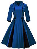 זול שמלות נשים-בגדי ריקוד נשים וינטאג' מידות גדולות רזה מכנסיים - קולור בלוק פפיון פול / צווארון V / חגים / ליציאה