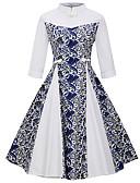 ieftine Rochii de Damă-Pentru femei Vintage Mărime Plus Size Zvelt Pantaloni - Floral Imprimeu Alb / Stil Nautic / Concediu / Ieșire