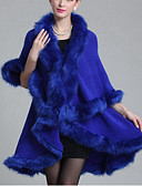 cheap Women's Coats & Trench Coats-Women's Ordinary Cotton Cloak / Capes - Solid Colored V Neck