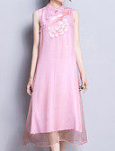 povoljno Dresses For Date-Žene Osnovni Pamuk Rukav leptir A kroj Haljina - Vezeno, Jednobojni Ruska kragna Midi