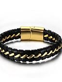 זול שעונים-בגדי ריקוד גברים שרשרת וצמידים צמידי עור מגנטי אופנתי עור צמיד תכשיטים שחור עבור מתנה יומי / מתכת אל חלד