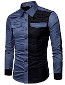 cheap Men's Shirts-Men's Slim Shirt - Color Block Patchwork Spread Collar