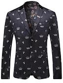 זול בלייזרים וחליפות לגברים-גיאומטרי רזה בלייזר - בגדי ריקוד גברים, דפוס / שרוול ארוך