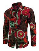 זול חולצות לגברים-גיאומטרי סגנון סיני מידות גדולות כותנה, חולצה - בגדי ריקוד גברים דפוס / שרוול ארוך