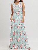 tanie Sukienki-Damskie Boho Bawełna Luźna Swing Sukienka - Kwiaty, Nadruk Dekolt w kształcie litery U Wysoka talia Maxi