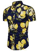 baratos Vestidos de Mulher-Homens Camisa Social Negócio Floral Algodão Limão