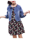 levne Sady oblečení-Dívčí Bavlna Polyester Denní Dovolená Jednobarevné Květinový Jaro Léto Sady oblečení, Krátký rukáv Dlouhý rukáv Jednoduchý Aktivní Vodní