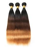 זול הינומות חתונה-3 חבילות שיער ברזיאלי ישר שיער אנושי Ombre 10-26 אִינְטשׁ Ombre שוזרת שיער אנושי תוספות שיער אדם