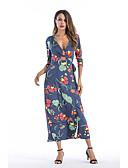 baratos Vestidos Estampados-Mulheres Algodão Delgado Calças - Floral Azul, Estampado Azul / Longo / Decote V