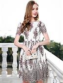 זול שמלות נשים-מותניים גבוהים תחרה, פרחוני - שמלה גזרת A נדן בגדי ריקוד נשים