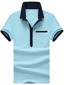 זול טישרטים לגופיות לגברים-אחיד גיאומטרי קולור בלוק צווארון חולצה רזה כותנה, Polo - בגדי ריקוד גברים טלאים