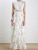 baratos Vestidos de Mulher-Mulheres Básico Bainha Vestido Côr Sólida Cintura Alta Longo Branco