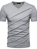 cheap Men's Jackets & Coats-Men's Slim T-shirt - Solid Colored V Neck