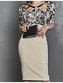 povoljno Ženske haljine-Žene Osnovni Puff rukav Bodycon Haljina - Print, Geometrijski oblici Na vezanje oko vrata Iznad koljena Visoki struk