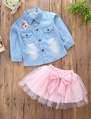 cheap Girls' Clothing Sets-Toddler Girls' Casual Daily / Going out Solid Colored / Patchwork Layered / Classic / Stylish Long Sleeve Regular Regular Cotton / Polyester Clothing Set Pink / Cute