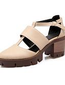 זול שמלות נשים-בגדי ריקוד נשים נעליים PU אביב / קיץ נוחות סנדלים עקב עבה בוהן מחודדת אבזם אפור / חום / שקד