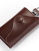cheap Quartz Watches-Cowhide Key Holder Buttons Brown / Sky Blue / Dark Red