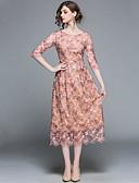 preiswerte Damen Kleider-Damen Ausgehen Street Schick / Anspruchsvoll A-Linie Kleid - Bestickt, Solide Midi