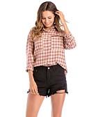 זול חליפות שני חלקים לנשים-קולור בלוק צווארון חולצה משוחרר פעיל ליציאה כותנה, חולצה - בגדי ריקוד נשים / אביב