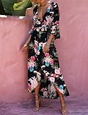 cheap Women's Dresses-Women's Going out Boho Flare Sleeve Sheath Dress - Floral Print Maxi Deep V