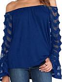 baratos Blusas Femininas-Mulheres Blusa Luva Lantern Renda Algodão Decote Canoa