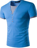 cheap Men's Tees & Tank Tops-Men's Cotton T-shirt - Color Block V Neck / Short Sleeve