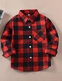 זול טישרטים לגופיות לגברים-חולצה כותנה אביב סתיו שרוול ארוך יומי Houndstooth יוניסקס יום יומי אודם