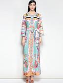 זול שמלות נשים-מקסי בסיסי, פרחוני - שמלה משוחרר חמוד בוהו בגדי ריקוד נשים