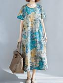 tanie Sukienki-Damskie Podstawowy Bawełna Luźna Luźna Sukienka - Geometric Shape Midi