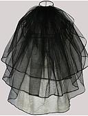 baratos Véus de Noiva-Três Camadas Estilo Moderno / Casamento / Estilo simples Véus de Noiva Véu Cotovelo com Franja / Recortes Tule / Corte de Anjo / Cascata