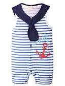 povoljno Baby Boys' One-Piece-Dijete Dječaci Osnovni Dnevno Prugasti uzorak Bez rukávů Poliester Jednodijelno Navy Plava