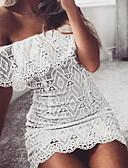 זול שמלות נשים-סירה מתחת לכתפיים מיני תחרה, צבע אחיד - שמלה צינור רזה שרוול התלקחות בגדי ריקוד נשים