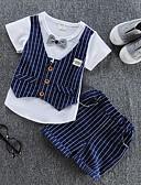 זול טישרטים לגופיות לגברים-סט של בגדים כותנה קיץ שרוולים קצרים יומי פסים בנים יום יומי אודם כחול נייבי