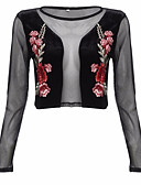 cheap Women's Tanks-Women's Going out Street chic Blouse - Floral / Spring / Summer / Embroidery / Sheer