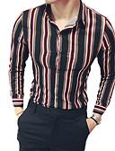 זול גברים-ג'קטים ומעילים-פסים רזה סגנון רחוב מועדונים חולצה - בגדי ריקוד גברים / שרוולים קצרים / שרוול ארוך