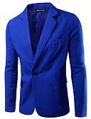 abordables Americanas y Trajes de Hombre-Hombre Informal de negocios Blazer Delgado Solapa de Pico-Un Color Básico
