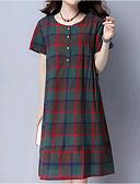 זול שמלות נשים-עד הברך בסיסי, קולור בלוק - שמלה משוחרר כותנה מידות גדולות בגדי ריקוד נשים / אביב