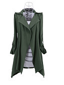 cheap Women's Trench Coats-Women's Cotton Trench Coat - Solid Colored Shirt Collar