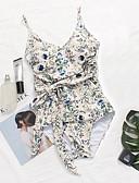 זול 2017ביקיני ובגדי ים-פרחוני, גב חשוף דפוס - חלק אחד (שלם) קולר סירה מתחת לכתפיים צלילה בגדי ריקוד נשים