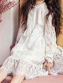 رخيصةأون فساتين نسائية-فستان كم طويل دانتيل سادة أبيض حلو فتيات أطفال / قطن