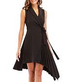 זול שמלות נשים-שחור סירה מתחת לכתפיים V עמוק מותניים גבוהים עד הברך אחיד - שמלה נדן רזה ליציאה בגדי ריקוד נשים