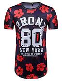 baratos Camisetas & Regatas Masculinas-Homens Camiseta Moda de Rua Decote Redondo / Manga Curta