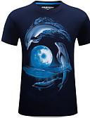 tanie Koszulki i tank topy męskie-T-shirt Męskie Podstawowy / Moda miejska Bawełna Okrągły dekolt Geometric Shape / Krótki rękaw