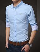 tanie Męskie koszule-Rozmiar plus Koszula Męskie Moda miejska, Sukienka prosta Bawełna Szczupła - Jendolity kolor / Długi rękaw