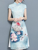 זול שמלות נשים-עד הברך קפלים, אחיד - שמלה צינור כותנה שרוול פרפר בגדי ריקוד נשים