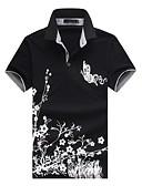 baratos Pólos Masculinas-Homens Polo - Trabalho Temática Asiática Estampado, Poá Floral Animal Algodão Colarinho de Camisa Delgado