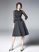 זול שמלות נשים-צווארון עגול קצר תחרה, צבע אחיד - שמלה גזרת A בגדי ריקוד נשים