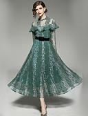 baratos Vestidos Femininos-Mulheres Básico Evasê Vestido - Renda Vazado, Sólido Floral Longo