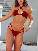 abordables Pantalones para Mujer-Mujer Básico Halter Rojo Gris Verde Claro Bikini Bañadores - Color sólido S M L / Sexy